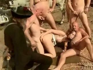 Two grandpas fucking and pissing on hot busty girl