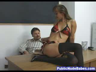 Small oriental chick Classroom Rough Sex