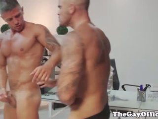 Tattooed muscular colleagues anal fuck