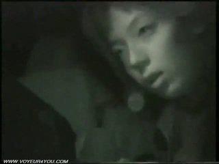 في الهواء الطلق ليل سيارة جنس بواسطة infrared camera