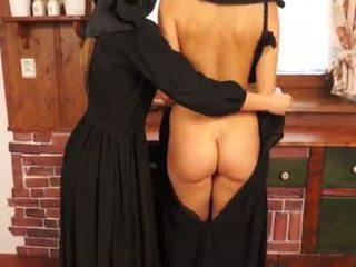 Nasty Catholic nuns making sins and licking pussy