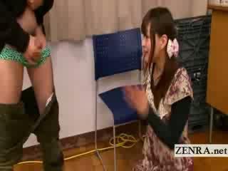 Bizarre Japanese AV star penis greetings with cumshot
