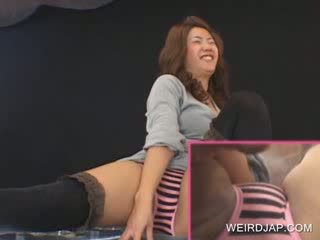Sweet asian Pussy vibrated in group