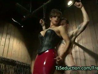 Busty tranny with huge dick fucks guy