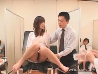 Sweet Asian Babe Gets Hairy Pussy Checked At The Doctors