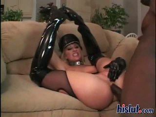 Leather clad blonde fucks a huge black wang