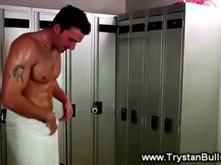 Sexy jock masturbating in the lockerroom