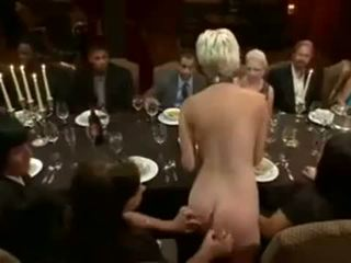 Blonde served forbondage dinner