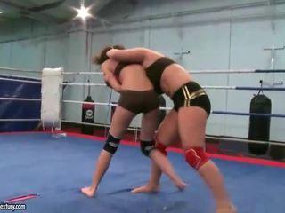 Naughty brunettes fighting
