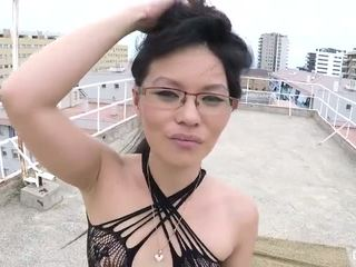 brunette, slim, glasses