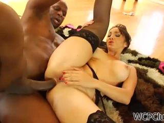 Anal loving asian takes a black cock