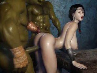 2 geants baisent une jolie fille, 무료 포르노를 3c