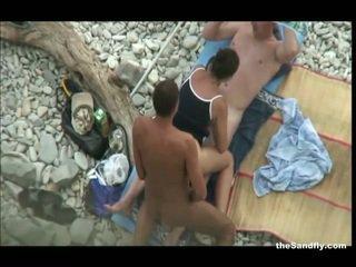 voyeur, bãi biển, hot nudism
