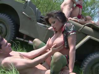 Pilyo hukbo sluts get banged by two soldiers sa a jeep