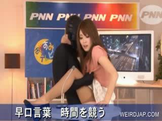 Hot asia gets puss rubbed in tv show