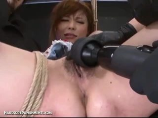 Extreme pussy punishment with horny japanese and her hairy pussy
