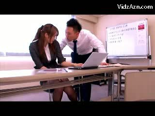 Girl In Suit And Pantyhose Rubbing Guy...