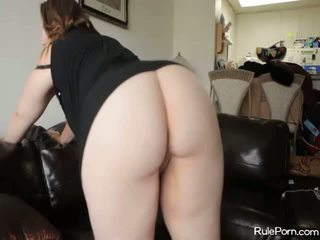 Chubby white brunette has doggy fuck with a black dude