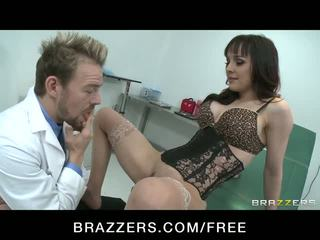 Naughty babe squirts while riding doctor's cock Video
