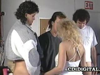 Samantha silny blondynka laska ssanie trzy cocks