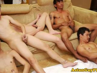 Gay asian tw-nk group tugging and !