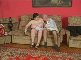 Chubby chick and older man
