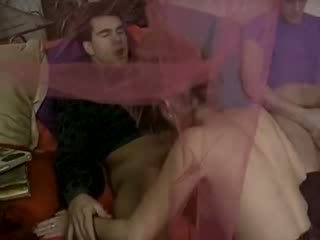 Double penetration fuck with Naked Babe and classic porn actress