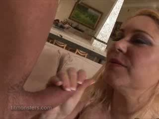 Monster size tits blowjob
