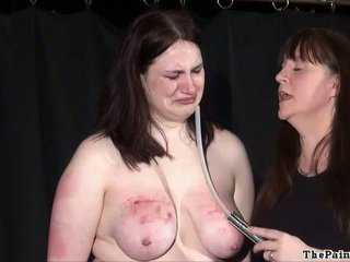 Brutal lesbian bdsm and extreme spanking of bbw