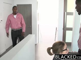 Blacked टीन थ्रीसम साथ two मॉन्स्टर dicks