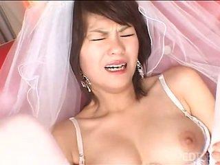 Solo Japanese bride masturbates