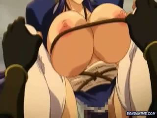 Busty hentai girl hogtied and rammed deeply at th