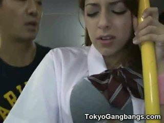 Blank tiener publiek bus seks in japan!