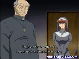 Hentai vienuolė gets pakliuvom iki iškrypęs priest