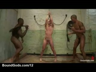 Two Darksome Homosexual Guys Flog And Enema White Bound Gay