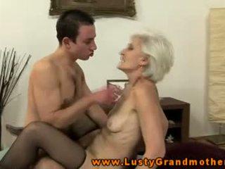 Old granny in stockings sucks and fucks