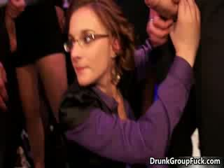 Horny drunk girl with glasses is blowing