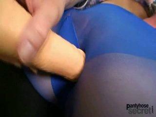 Slender youngster -ban blue harisnya hose playthings magát
