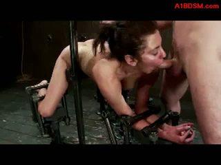 Момиче tied към metal кадър в doggy getting тя путка и уста прецака от любовница с колан с пенис и майстор в на тъмница