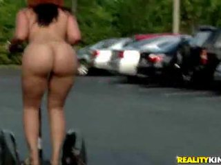Fat Butt Riding Segway Completely Naked