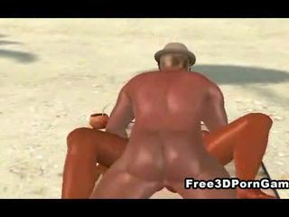 3D babe getting fucked on the beach