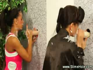 Glory hole sluts suck and fuck the cocks from the wall