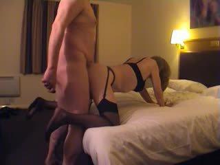 Homemade anal with a crosdresser in lingerie
