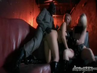 Hot Threesome With Spanking For 2 Naughty Chicks In Leather