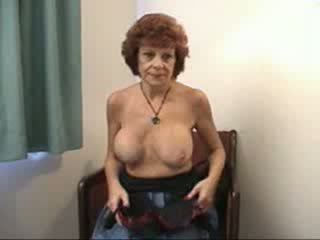 Busty grandma sucks and fucks