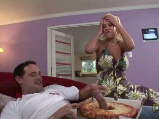 Busty housewife doing deep throat to pizza delivery guy