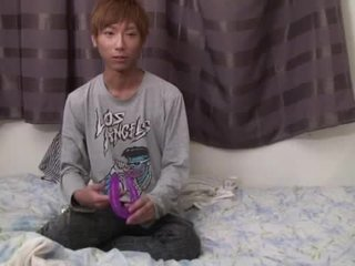 18 Year Old Japanese Twink Screwed Hard By Fake Penis