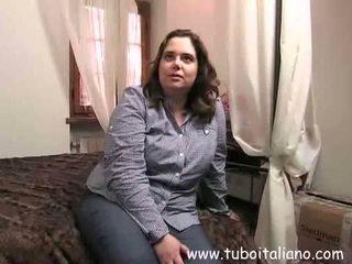 brunette, pipe, femme, italien