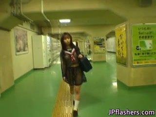 Asian Schoolgirl in Public