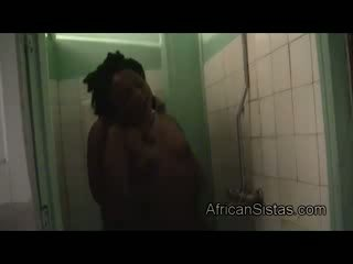 Amateur Afro Nelly goes dirty while takes shower with ebony Ex